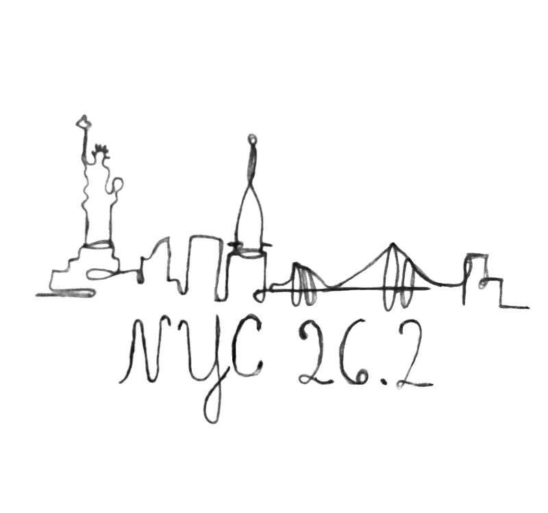 NYC 26.2 skyline organic cotton t-shirts